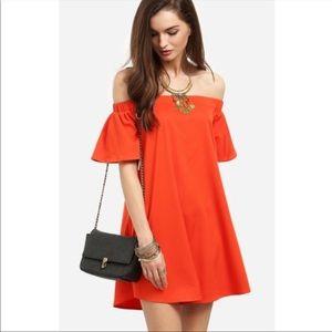 Orange off the shoulder dress